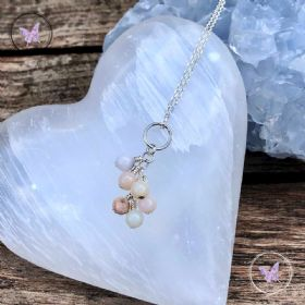 Pink Opal Cluster October Birthstone Necklace
